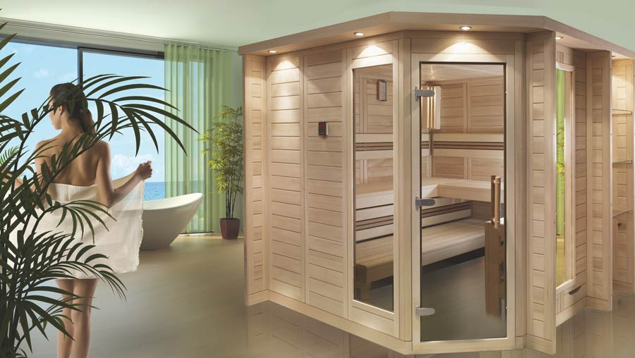Merano Massivholz-Sauna A7 Pools in Neumünster